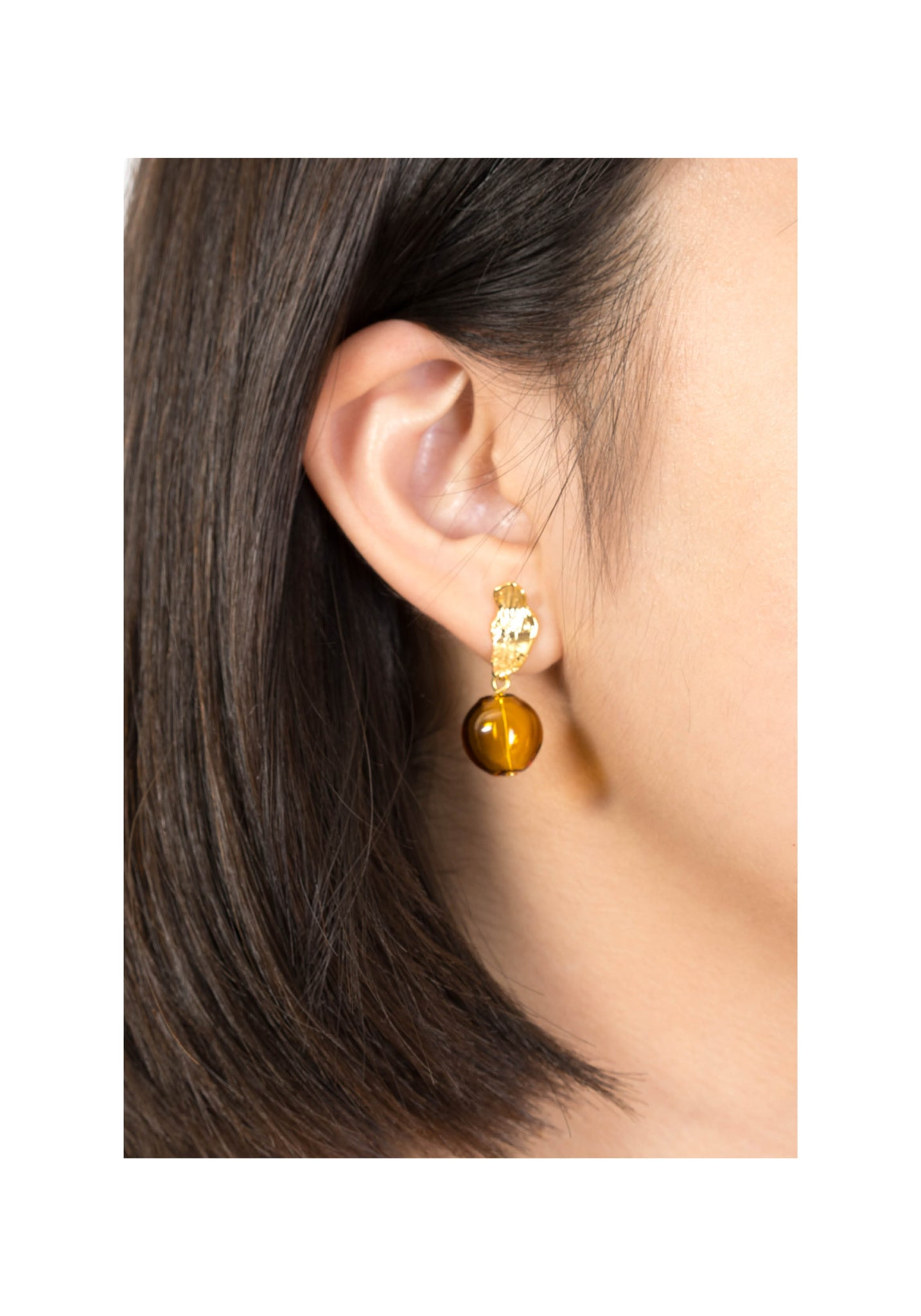 Texture Leaf And Glass Ball Earrings - whoami
