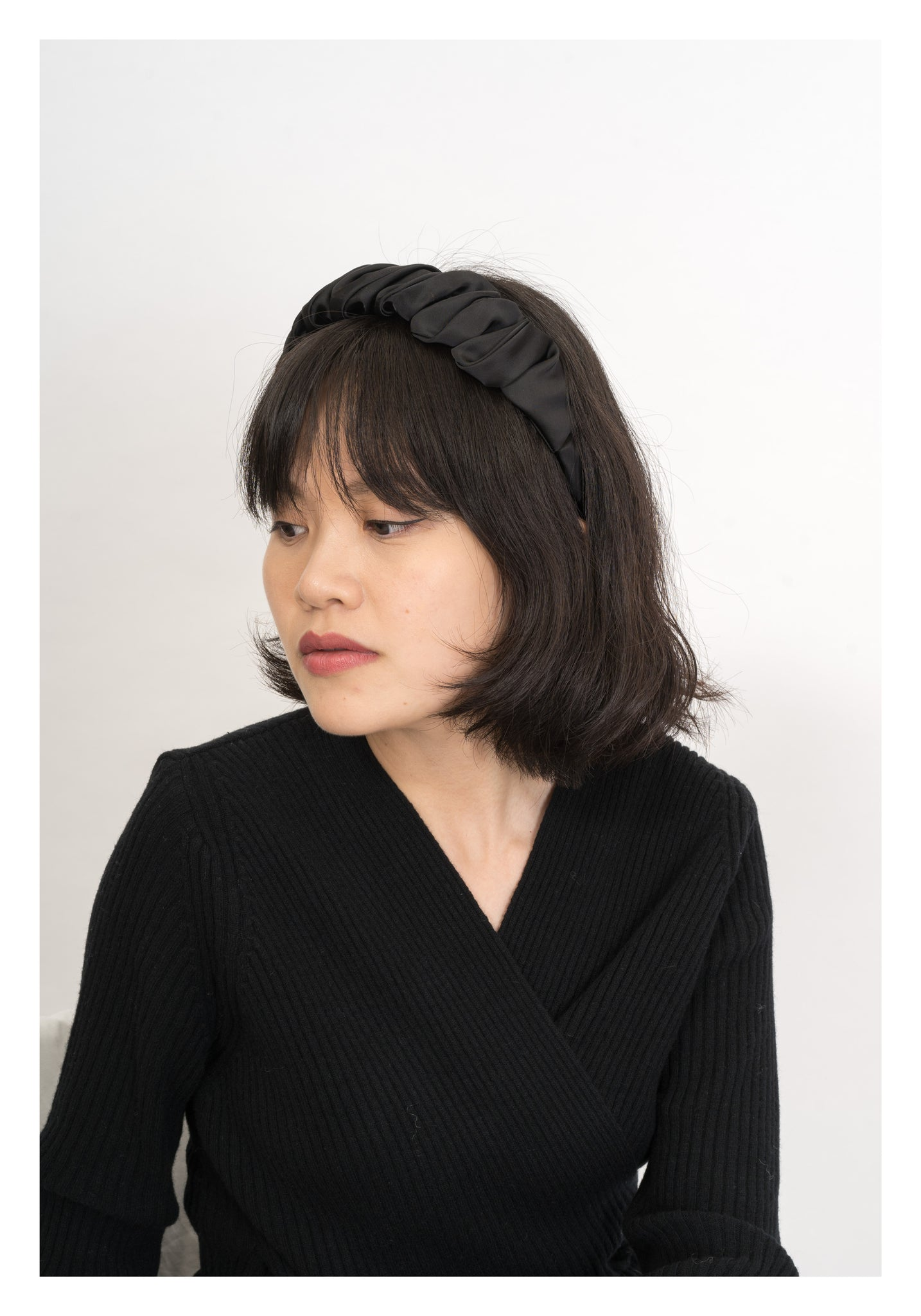 Satin Gather Headband Black - whoami