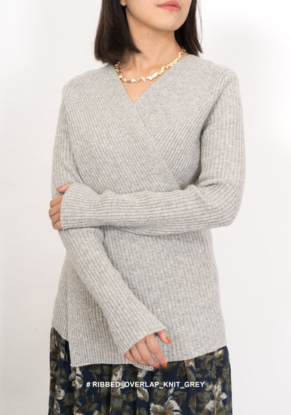 Ribbed Overlap Knit Grey