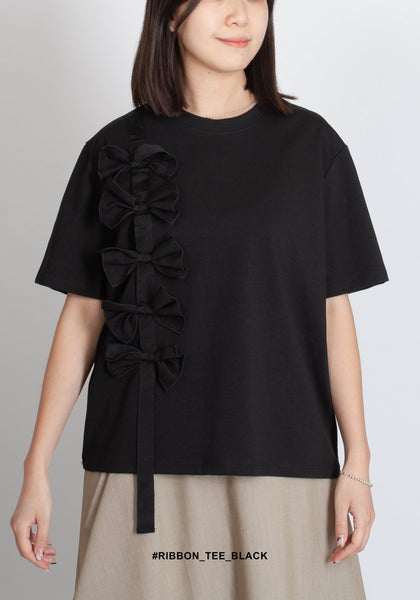Ribbon Tee Black - whoami