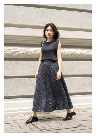 Rooney Die Cut Lace Skirt Navy