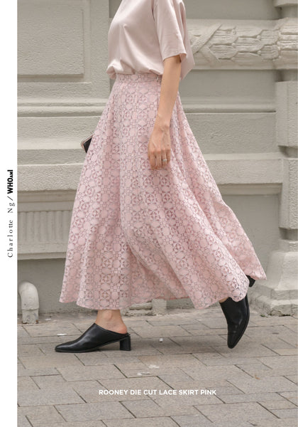 Rooney Die Cut Lace Skirt Pink - whoami
