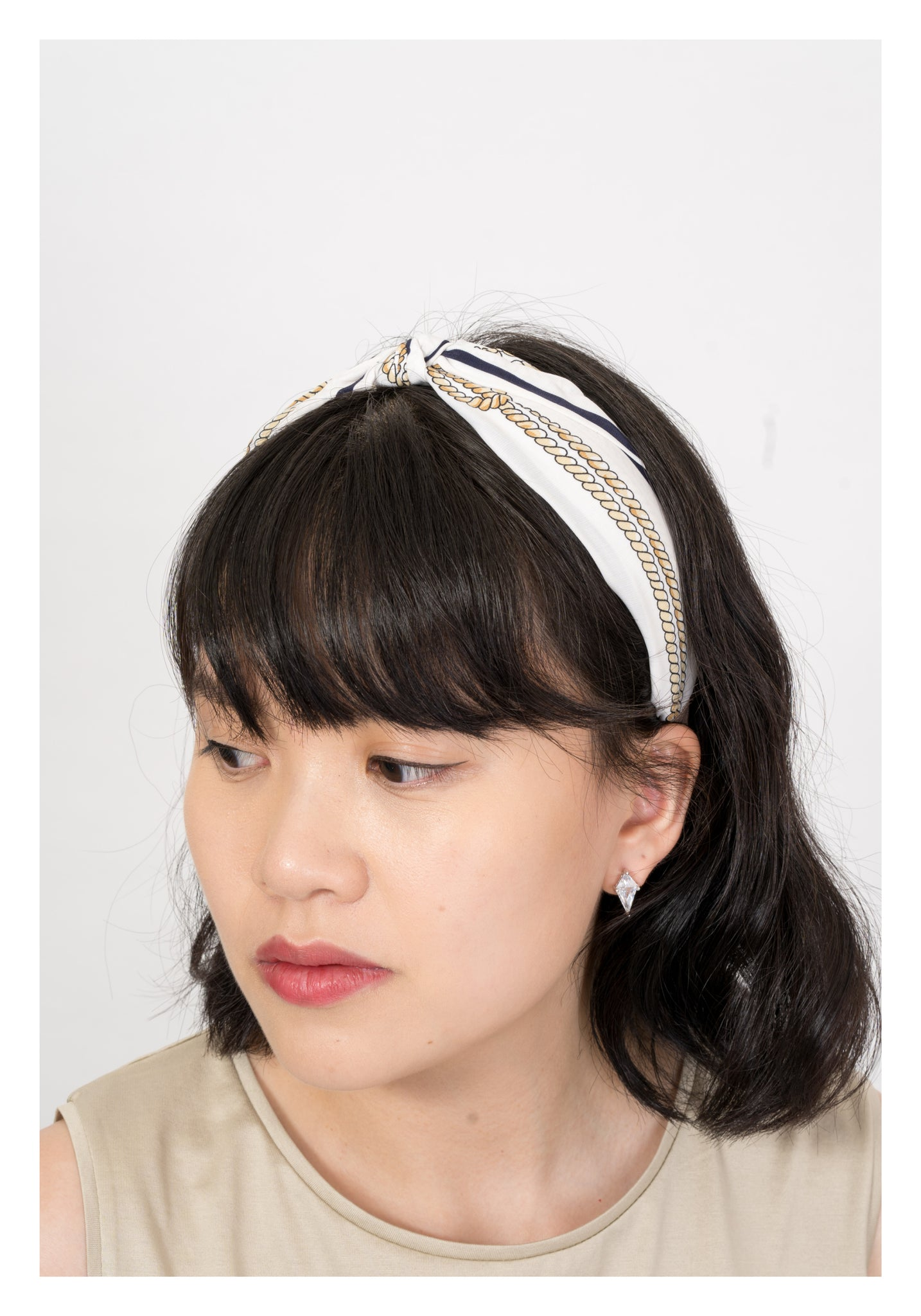 Rope Pattern Knot Hairband White - whoami