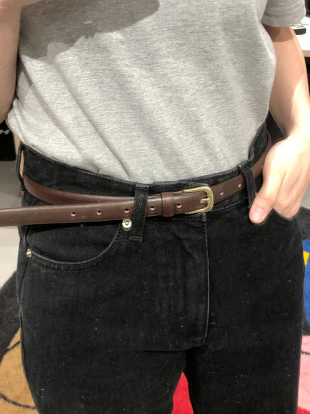 Round Rectangle Buckle Leather Belt Brown - whoami