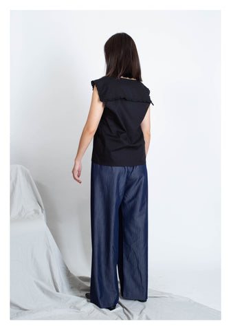 Ruffle Trim Collar Vest Black - whoami