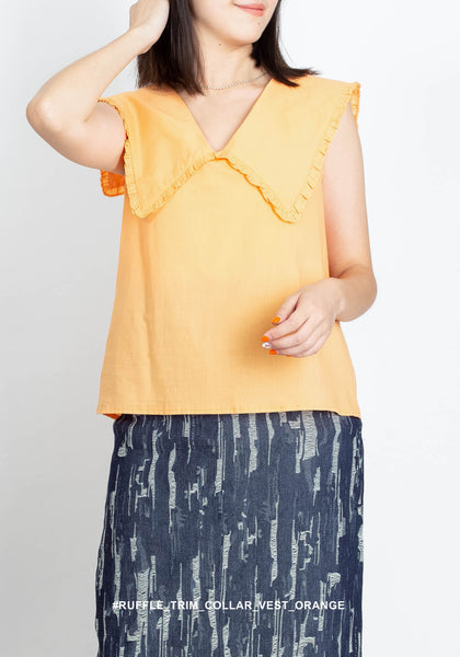 Ruffle Trim Collar Vest Orange - whoami