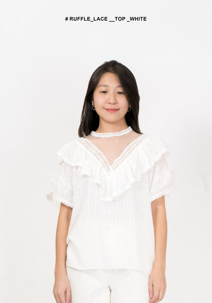 Ruffle Lace Top White