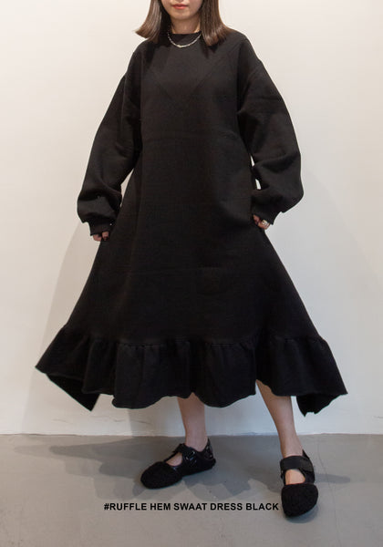 Ruffle Hem Sweat Dress Black - whoami
