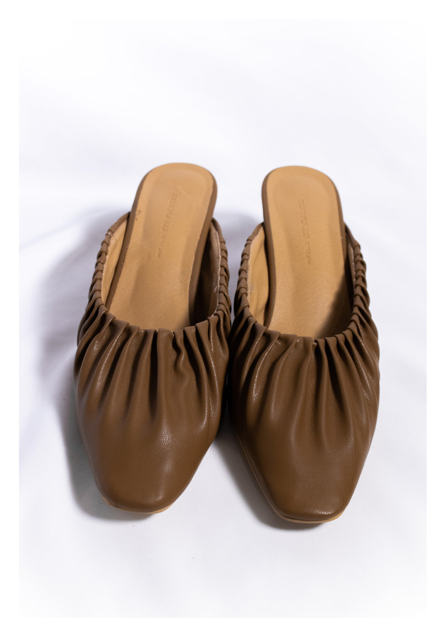 Sample Shoes - Anais Gathered Edge Mules Brown
