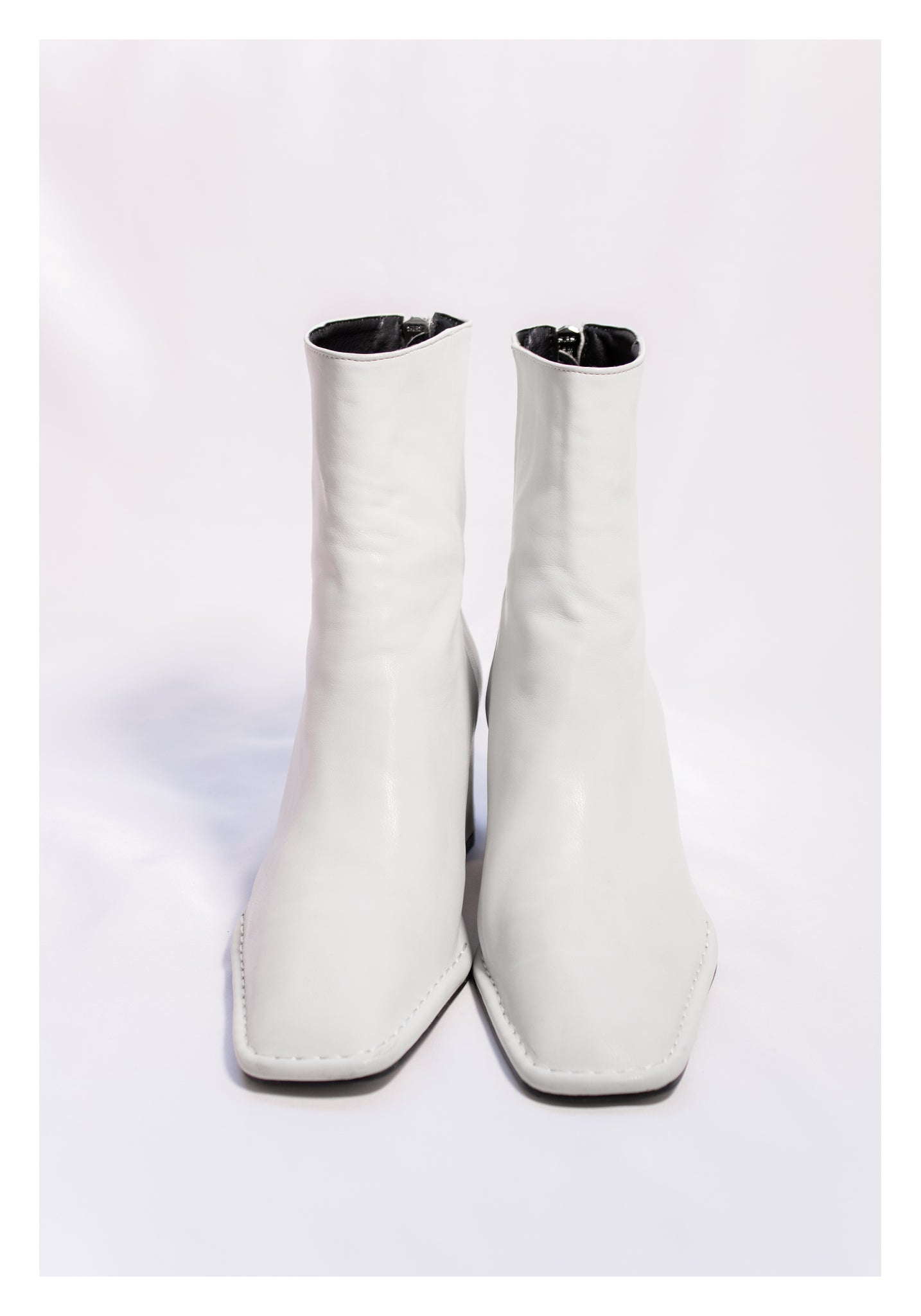 Sample Shoes - Square Head Stitch Boots White