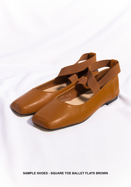 Sample Shoes - Square Toe Ballet Flats Brown - whoami
