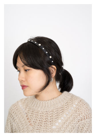 Satin Faux Pearl Thin Headband Black - whoami