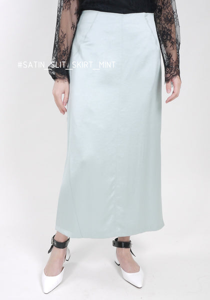 Satin Slit Skirt Mint - whoami