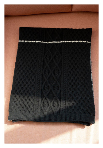 Knitted Houndstooth Pattern Scarf Black - whoami