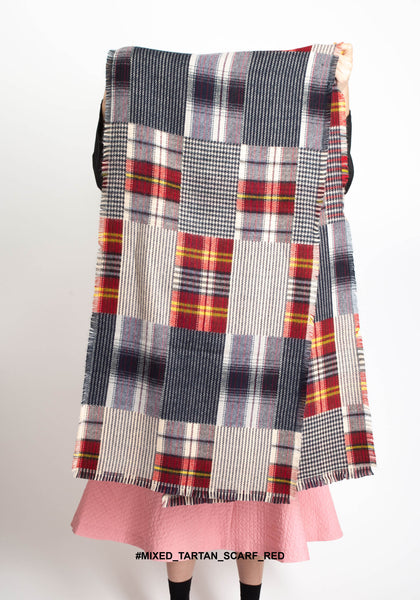 Mixed Tartan Scarf Red - whoami