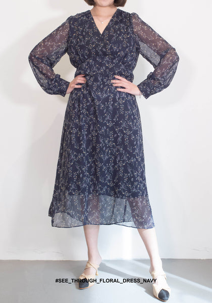 See Through Floral Dress Navy - whoami