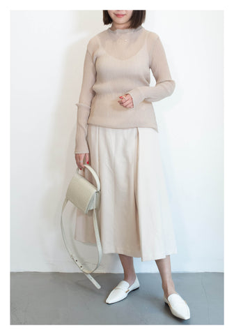 See Through Basic Top Beige - whoami