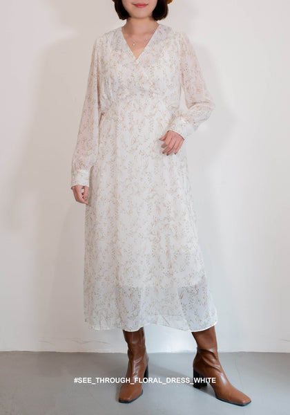See Through Floral Dress White - whoami