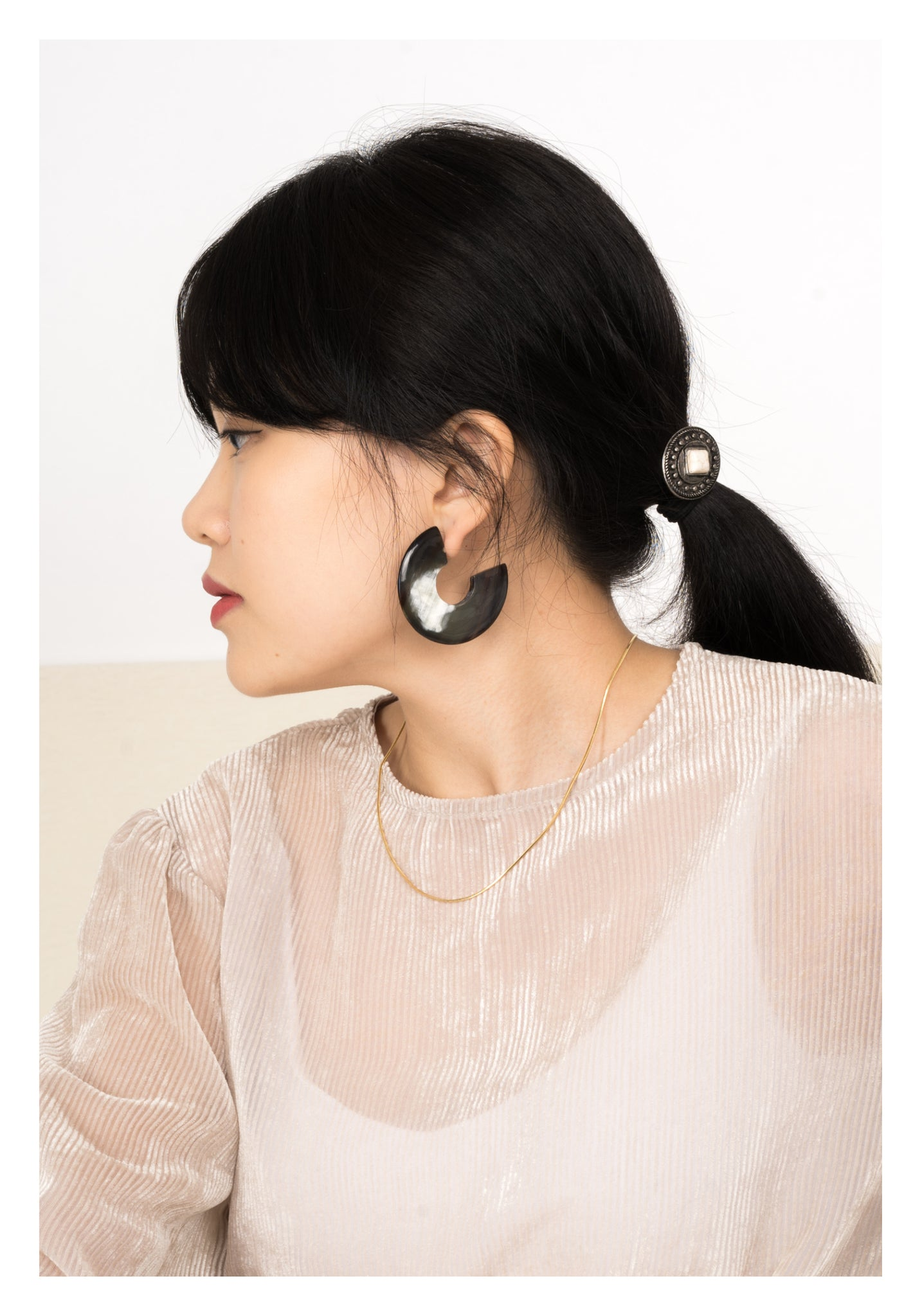 Buffalo Horn Disc Earrings