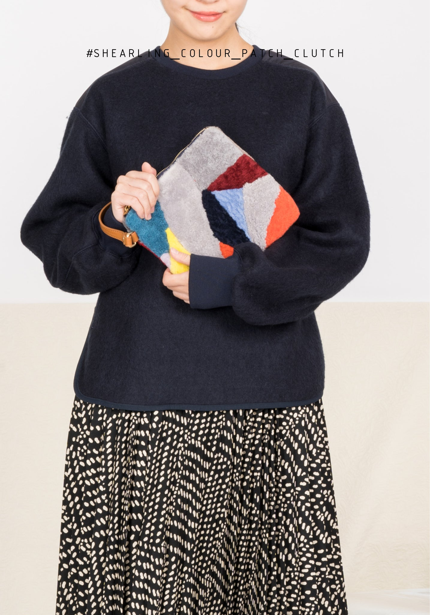 Shearling Colour Patch Clutch