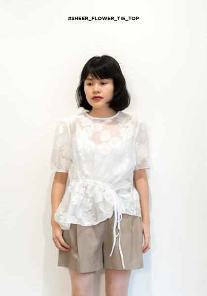 Sheer Flower Tie Top White