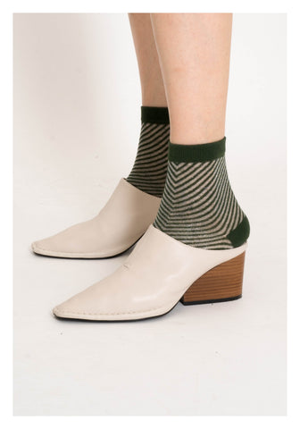 Sheer See Through Slope Stripe Socks Green - whoami