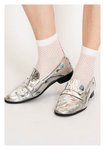 Sheer See Through Slope Stripe Socks White - whoami