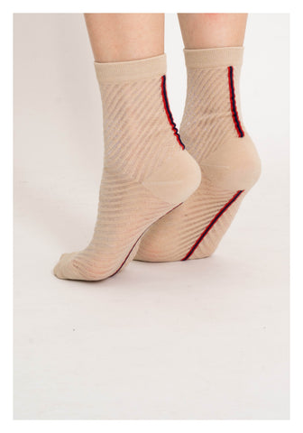 Sheer See Through Slope Stripe Socks Beige - whoami