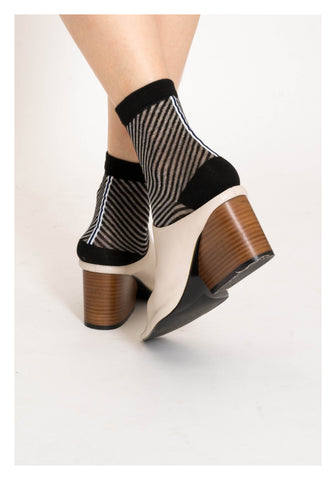 Sheer See Through Slope Stripe Socks Black - whoami