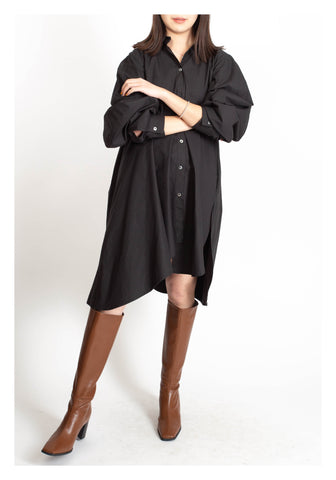 Back Gather Shirt Dress Black - whoami