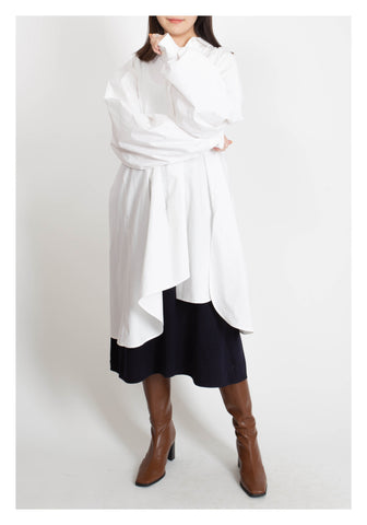 Back Gather Shirt Dress White - whoami