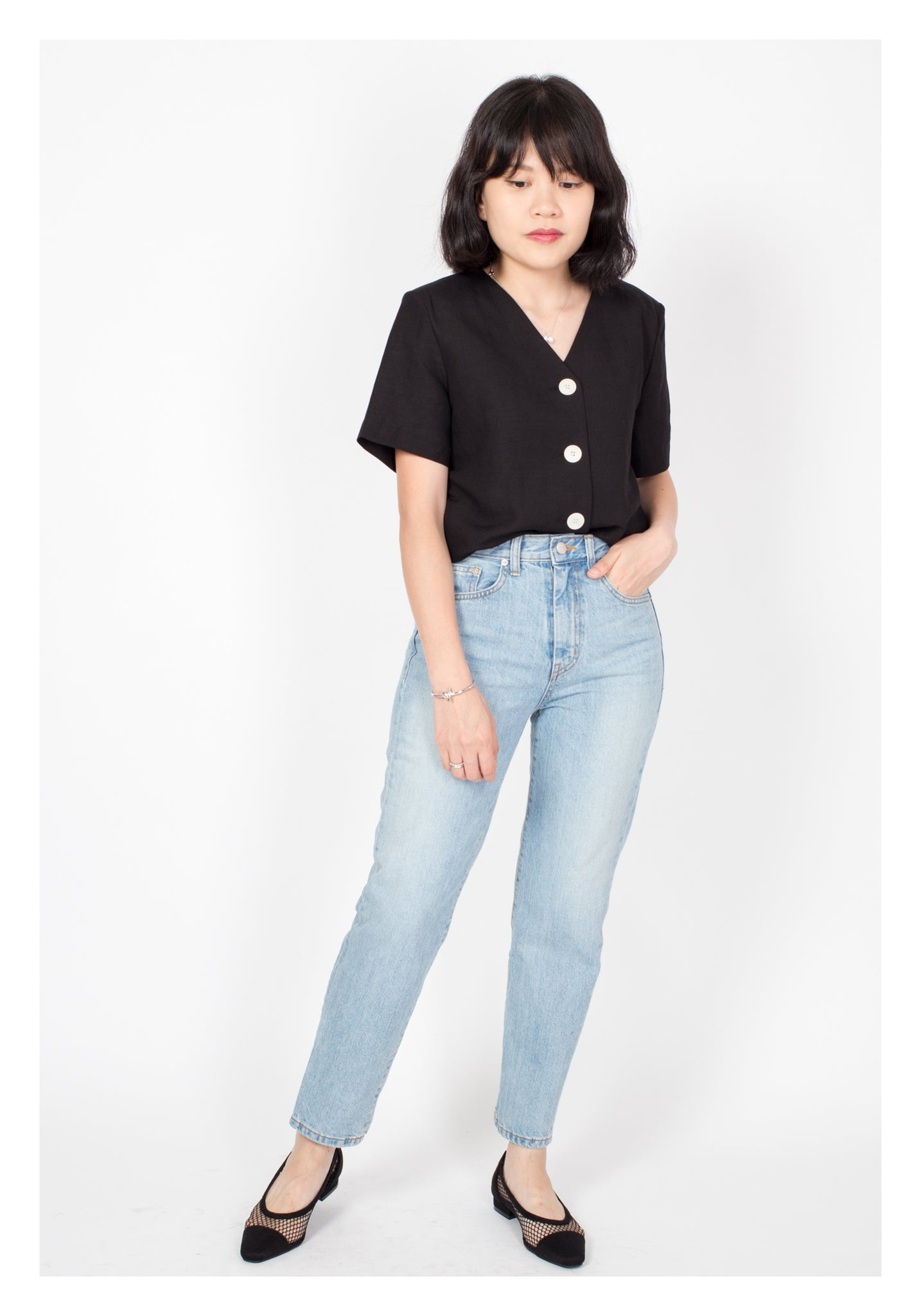 Short Sleeve Button Jacket Black