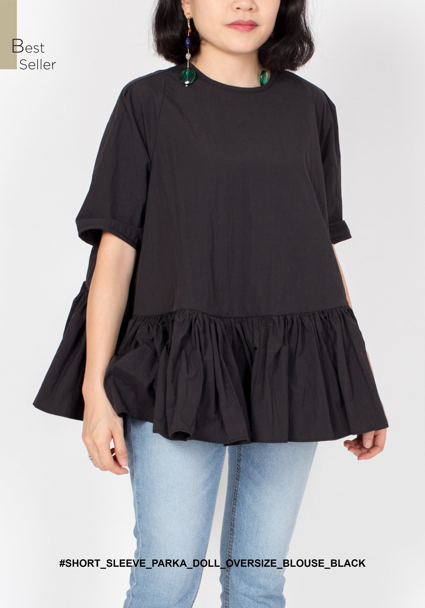 Short Sleeve Parka Doll Oversize Blouse Black