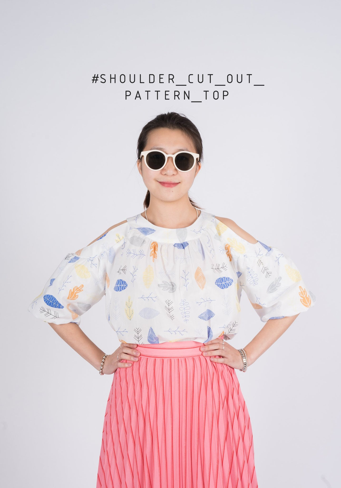 Shoulder Cut Out Pattern Top - whoami