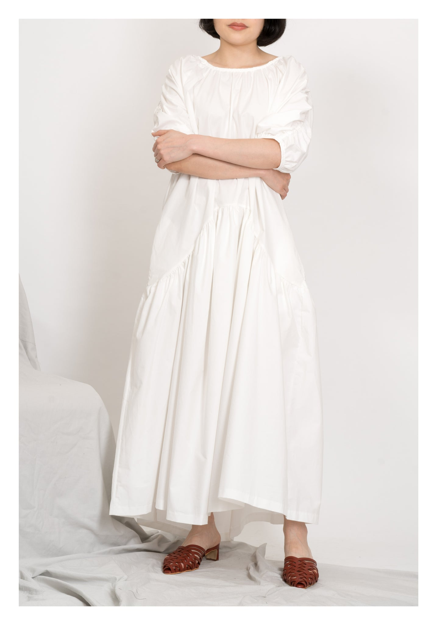 Shoulder Drawstring Pocket Dress White - whoami
