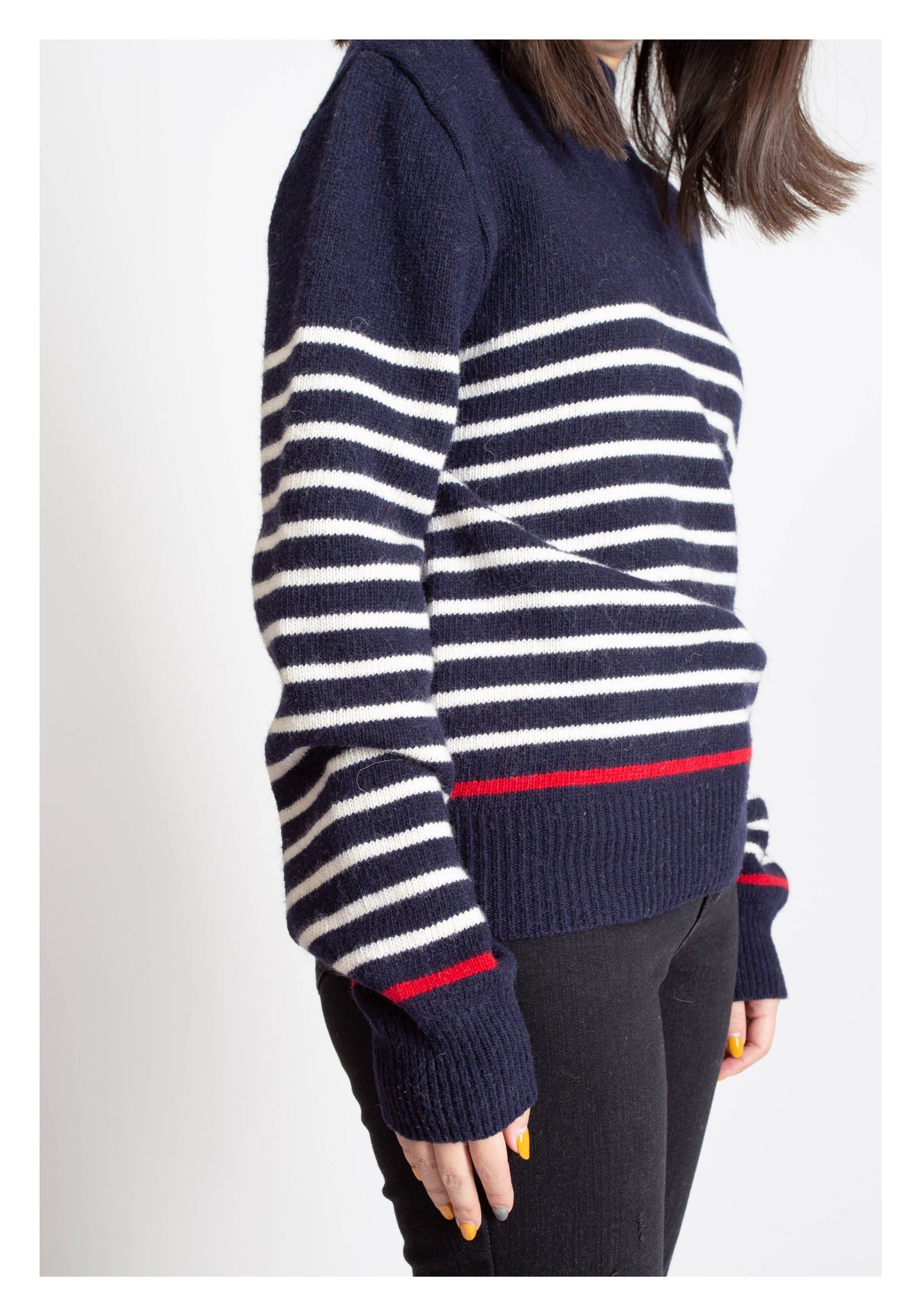 Side Shoulder Button Stripe Knit Top Navy - whoami