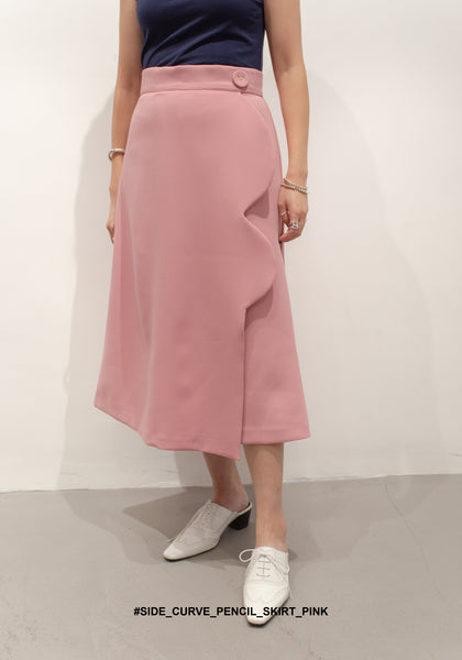 Side Curve Pencil Skirt Pink - whoami
