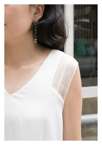 Side Pleated Satin Dress White - whoami