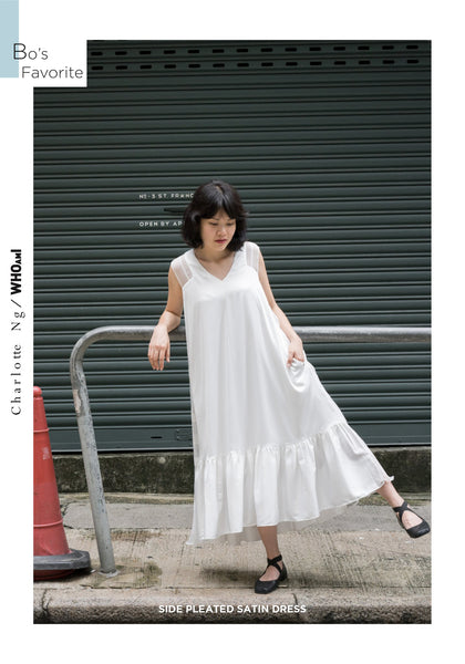 Side Pleated Satin Dress White