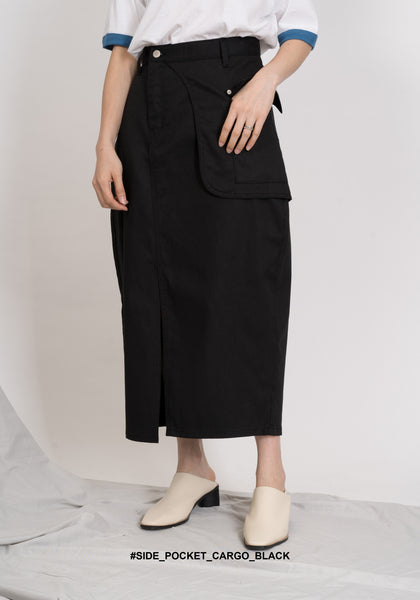 Side Pocket Cargo Skirt Black