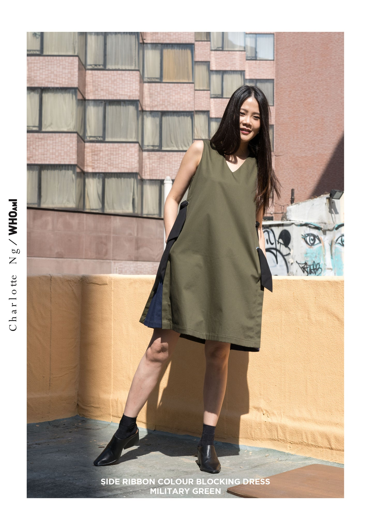 Side Ribbon Colour Blocking Dress Military Green - whoami