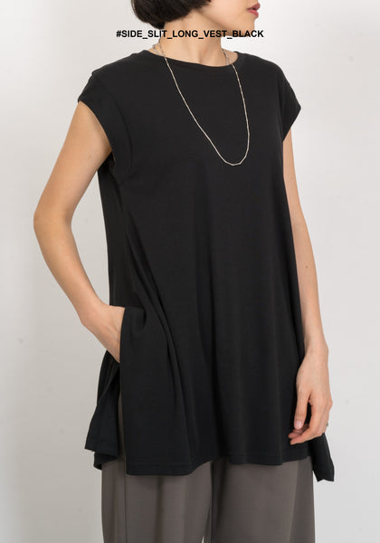 Side Slit Long Vest Black