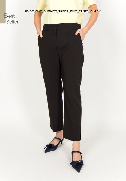 Side Slit Summer Taper Suit Pants Black - whoami