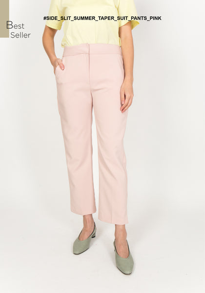 Side Slit Summer Taper Suit Pants Pink - whoami