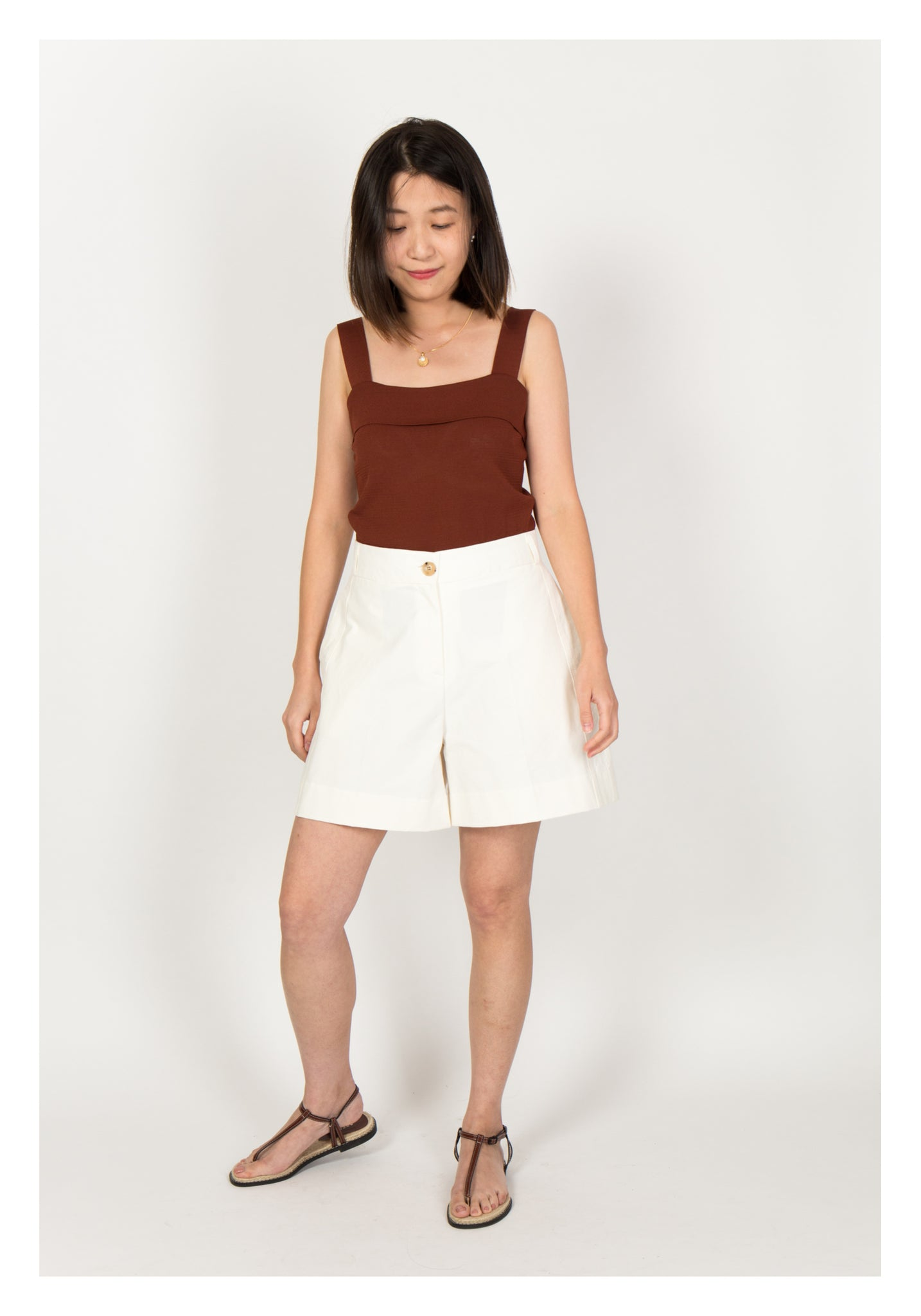 Side Stitch Pocket Shorts White