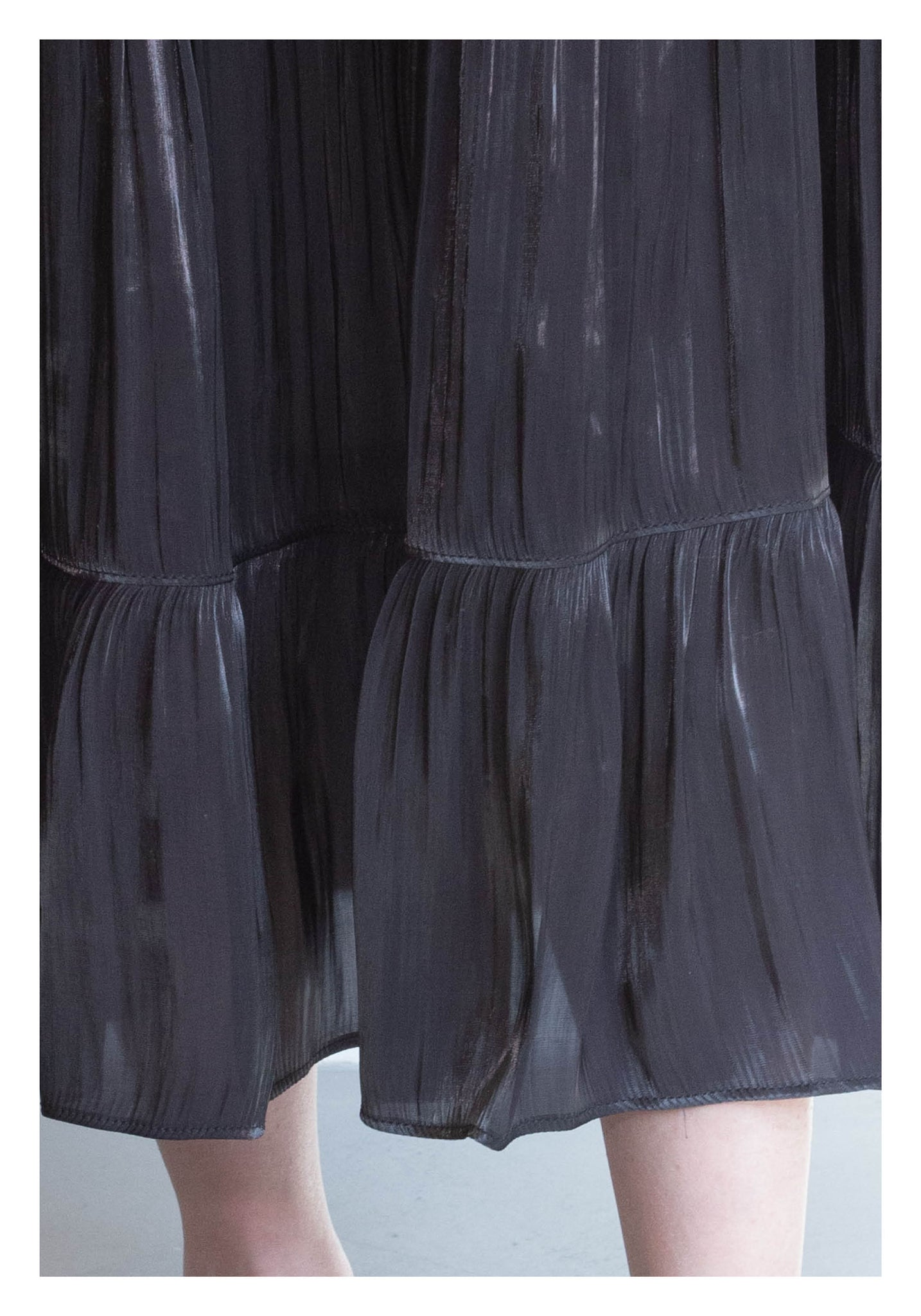 Silky Tiered Long Skirt Black - whoami