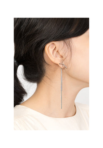 Flat Chain Tassel Earrings Silver