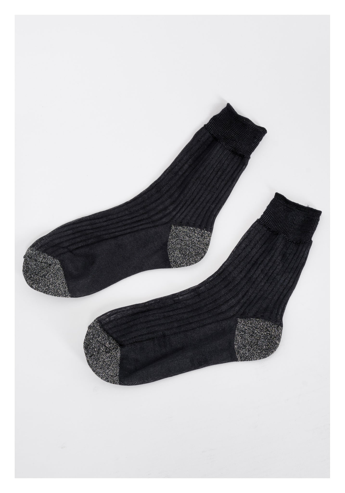 Silver Black Shinny Socks - whoami