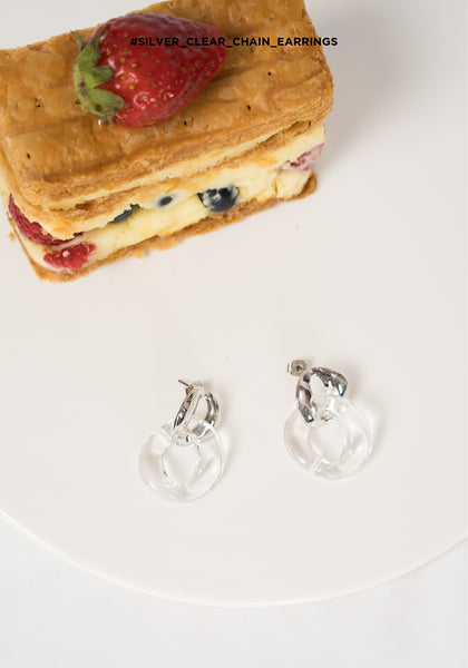 Silver Clear Chain Earrings - whoami