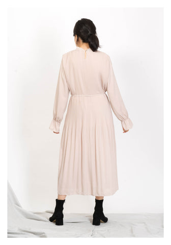 Simple Ruffle Collar Light Dress Beige